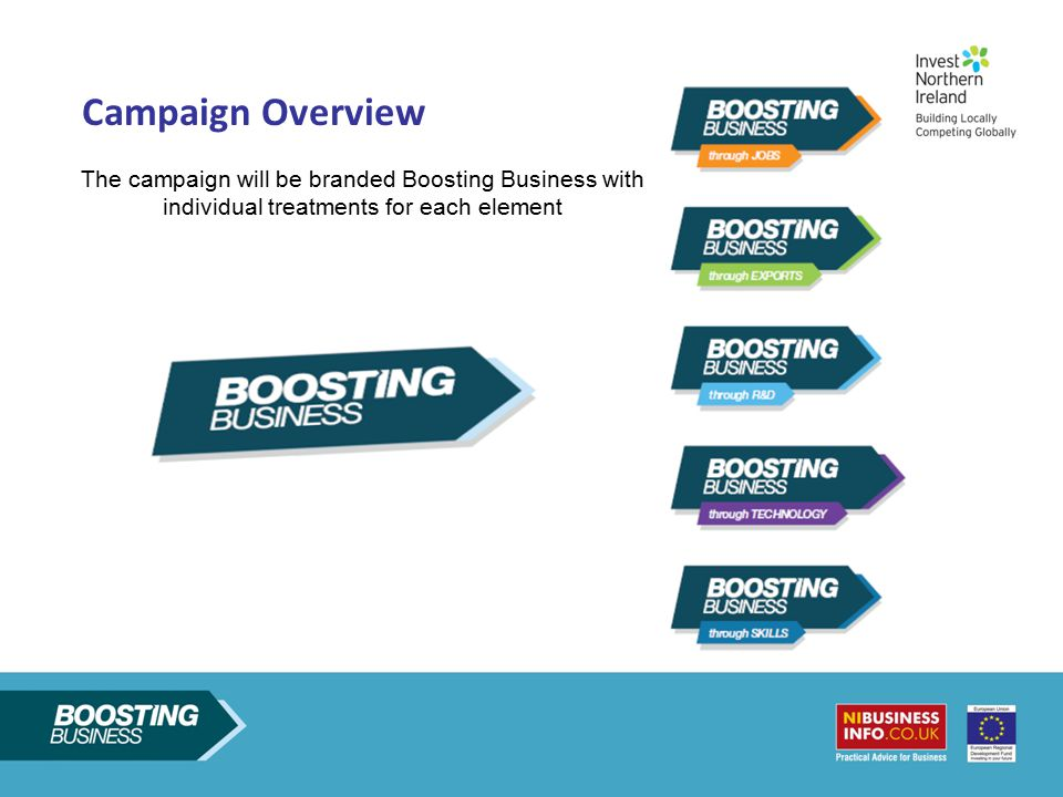 Campaign Overview The campaign will be branded Boosting Business with individual treatments for each element.