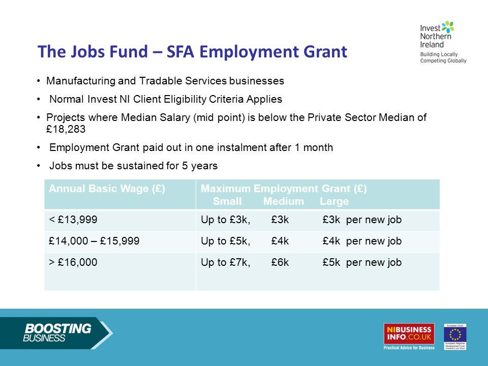 The Jobs Fund Measures The Jobs Fund – SFA Employment Grant