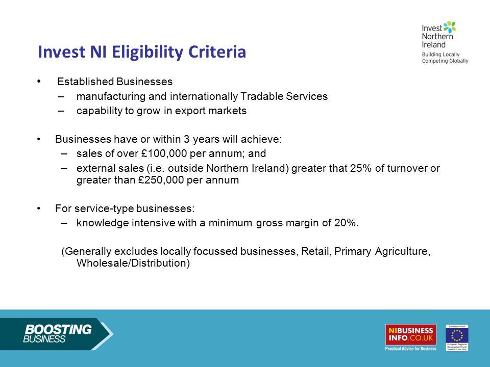 Invest NI Eligibility Criteria