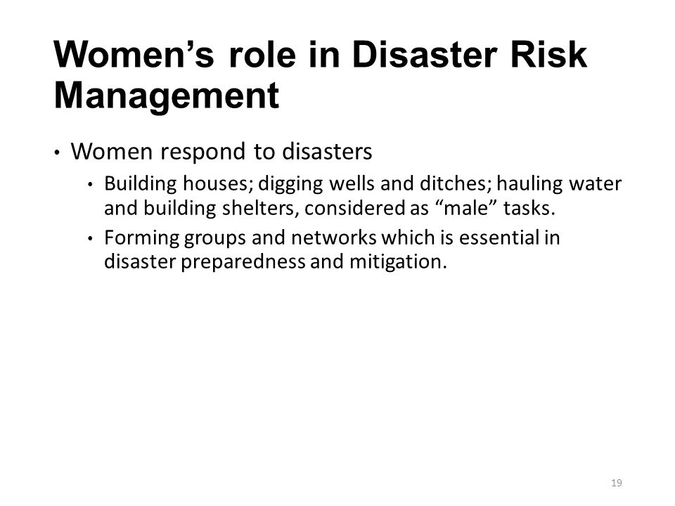 Women's role in Disaster Risk Management