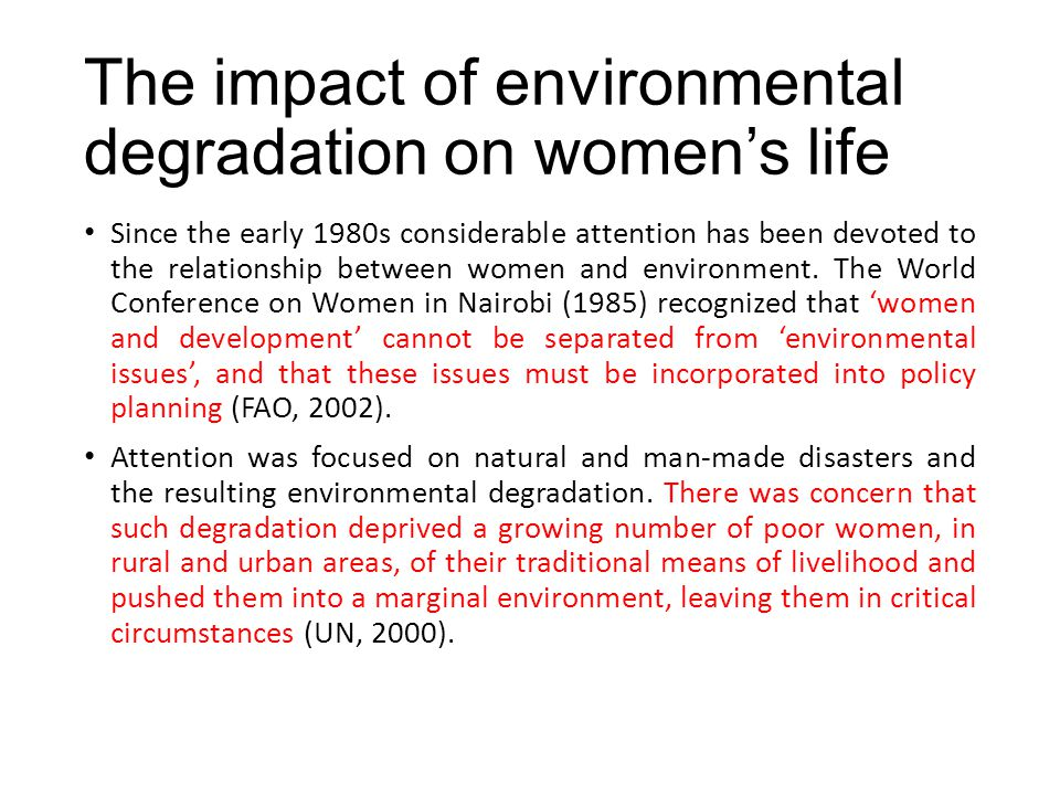 The impact of environmental degradation on women's life