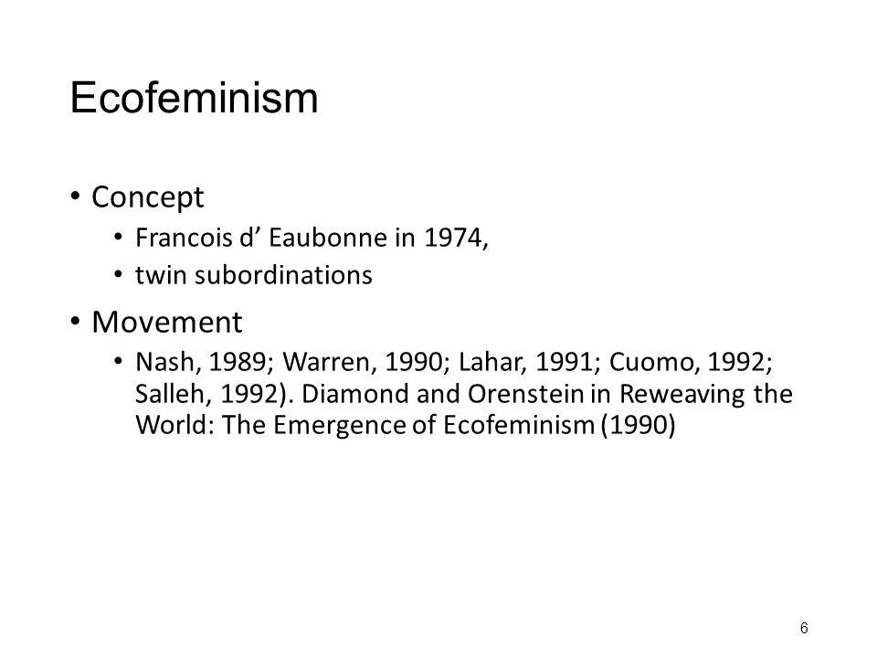 Ecofeminism Concept Movement Francois d' Eaubonne in 1974,