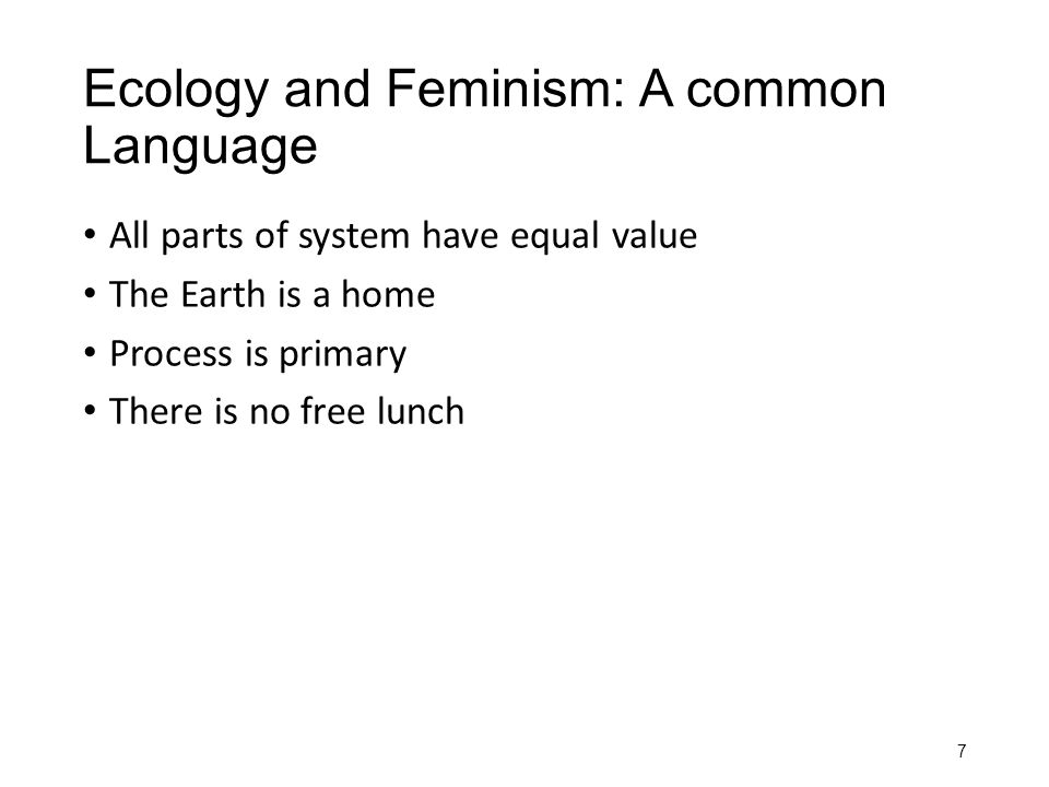 Ecology and Feminism: A common Language