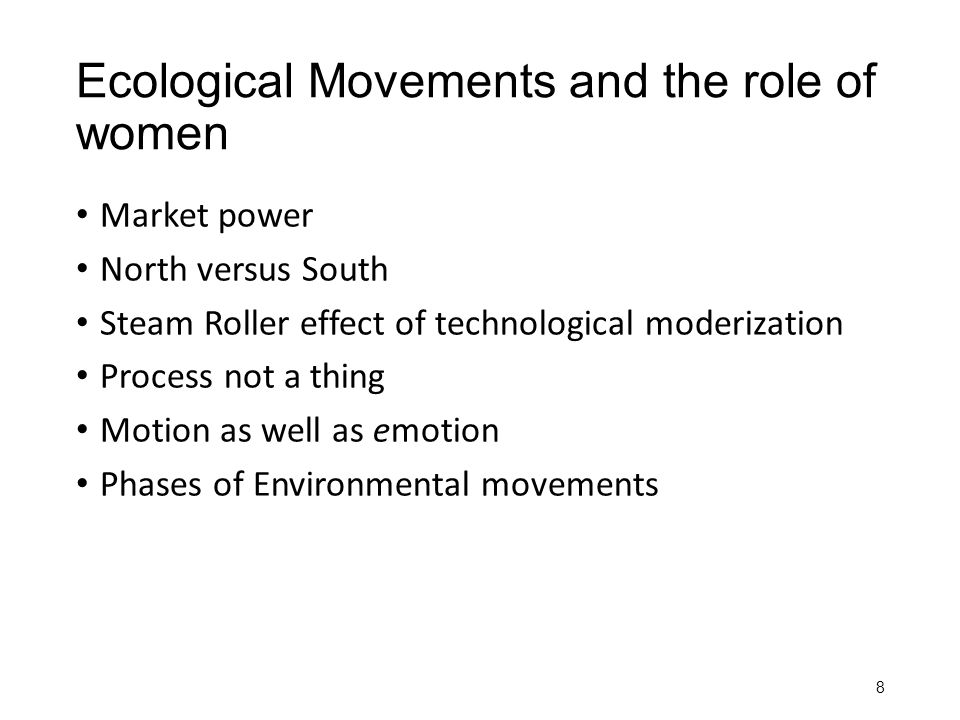 Ecological Movements and the role of women