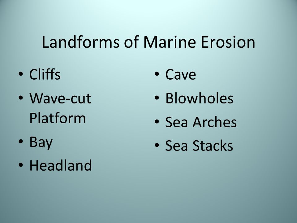 Landforms of Marine Erosion