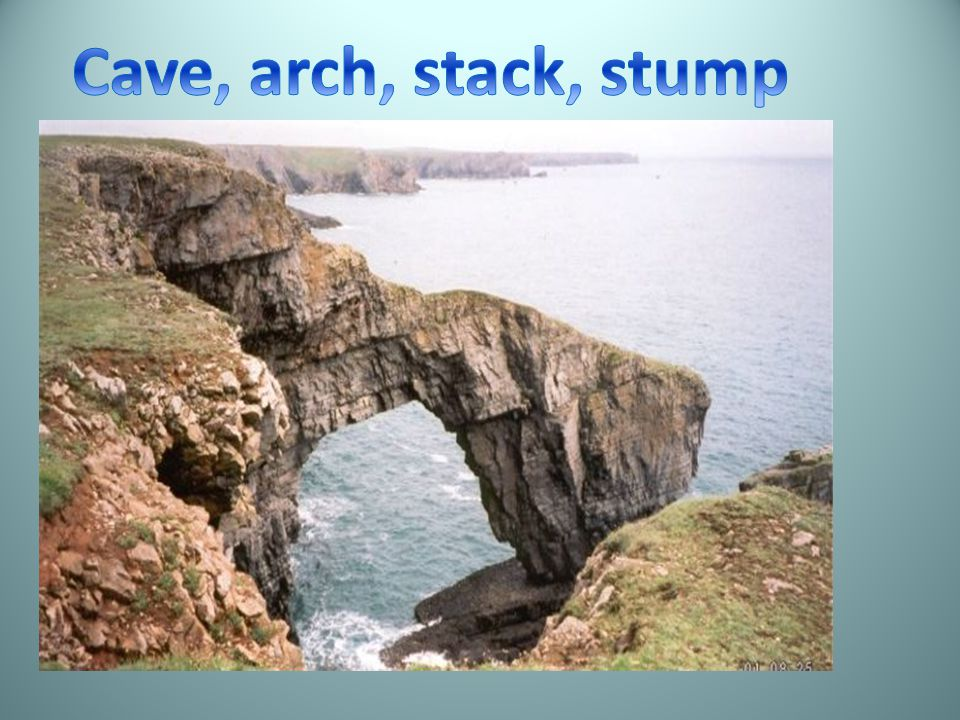 Cave, arch, stack, stump