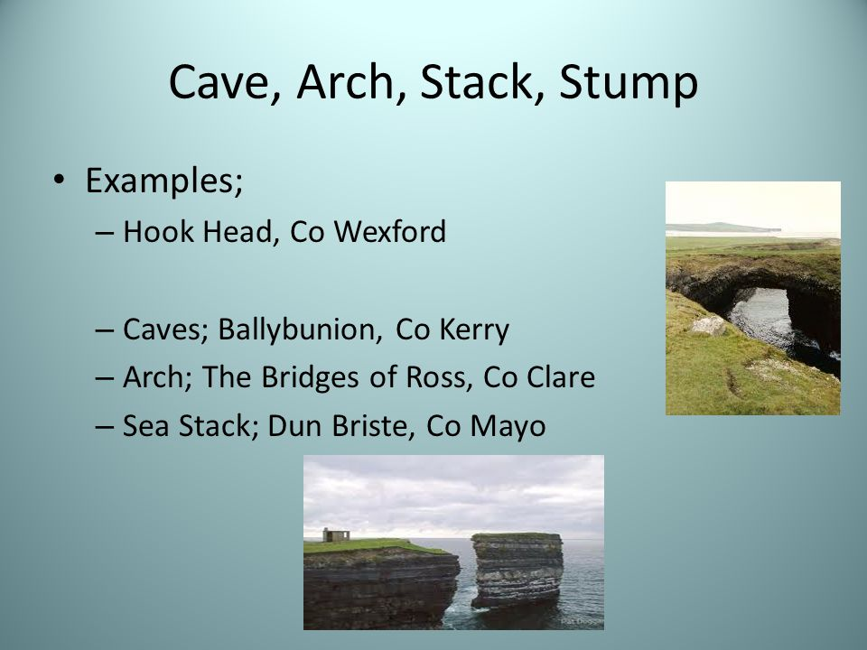 Cave, Arch, Stack, Stump Examples; Hook Head, Co Wexford