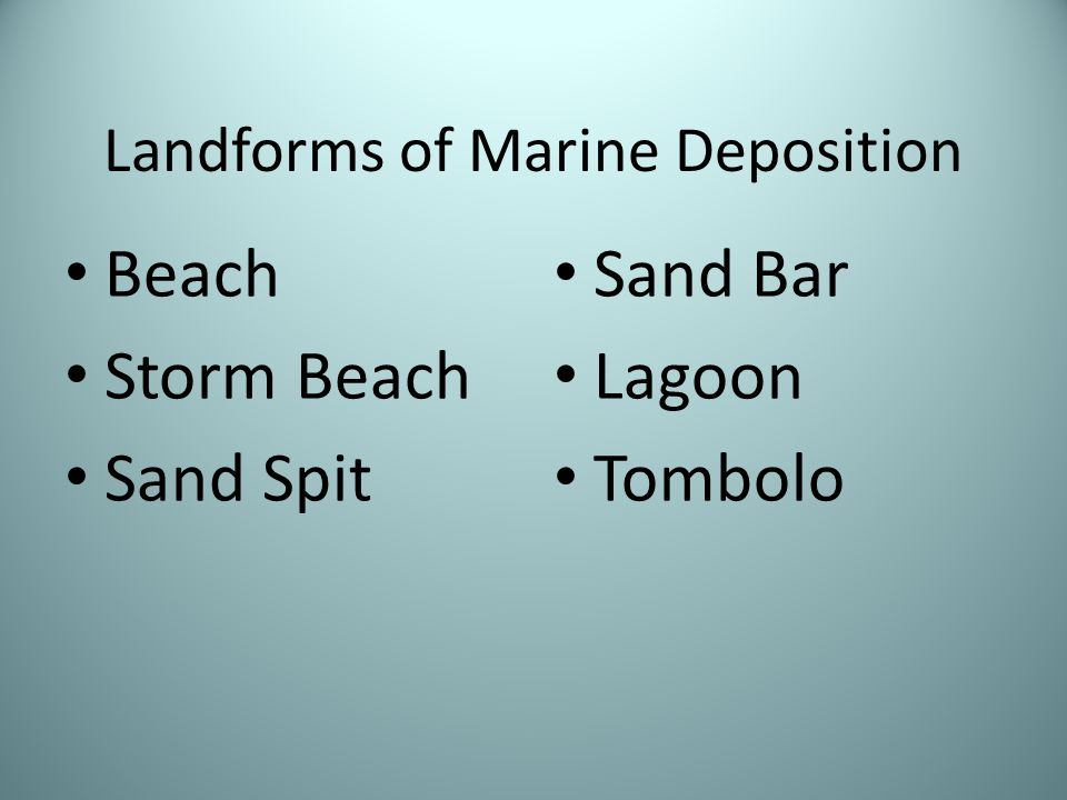 Landforms of Marine Deposition