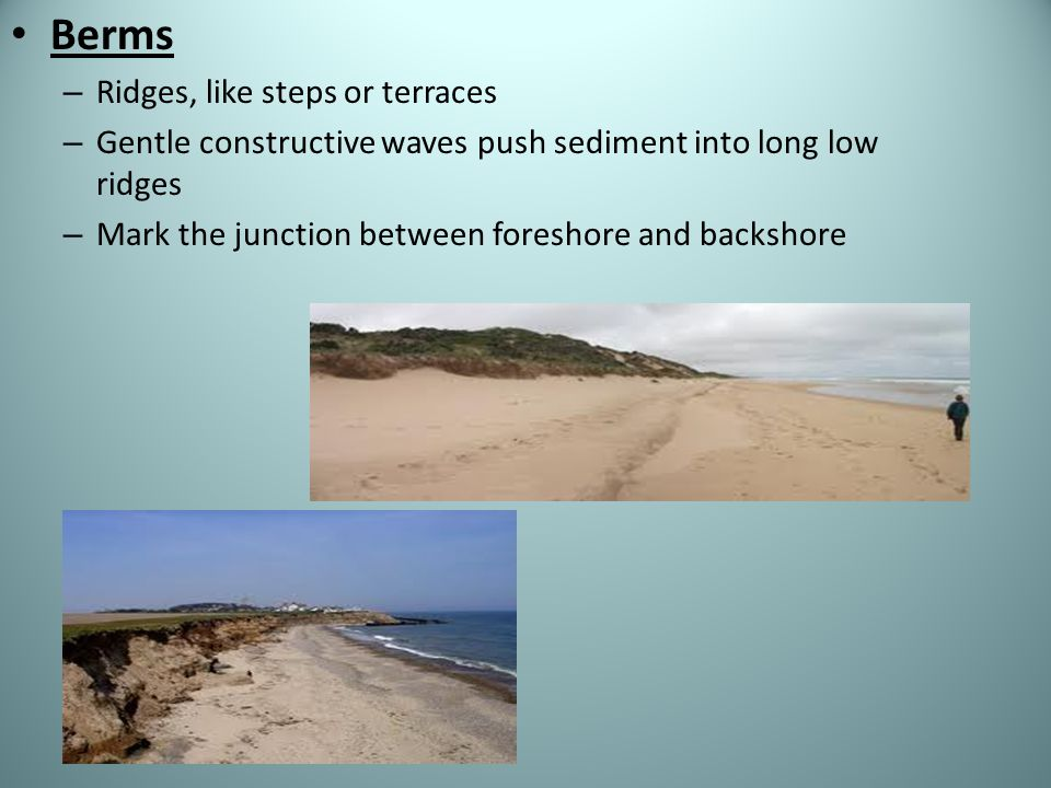 Berms Ridges, like steps or terraces