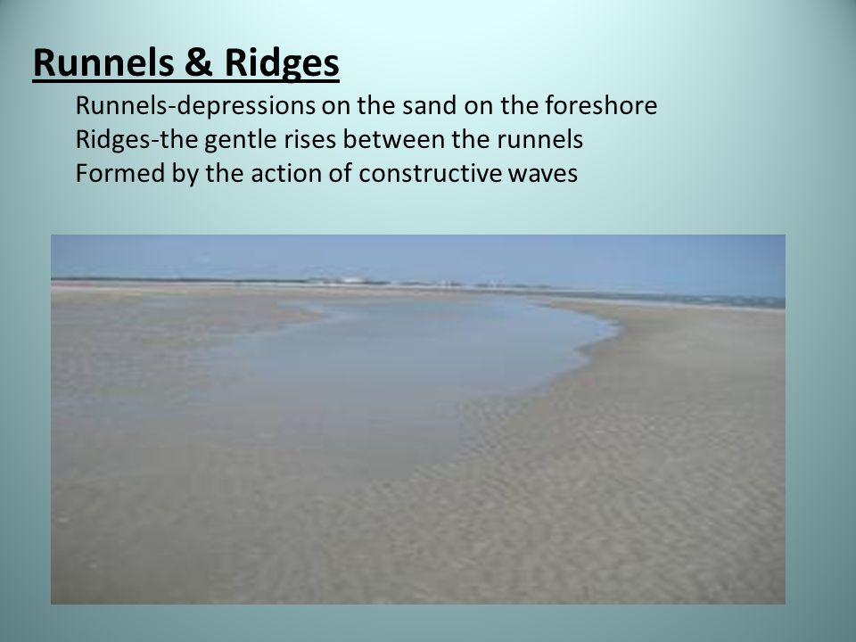Runnels & Ridges Runnels-depressions on the sand on the foreshore