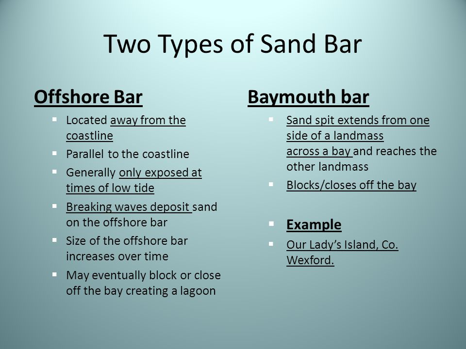 Two Types of Sand Bar Offshore Bar Baymouth bar Example