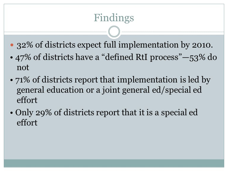 Findings 32% of districts expect full implementation by 2010.