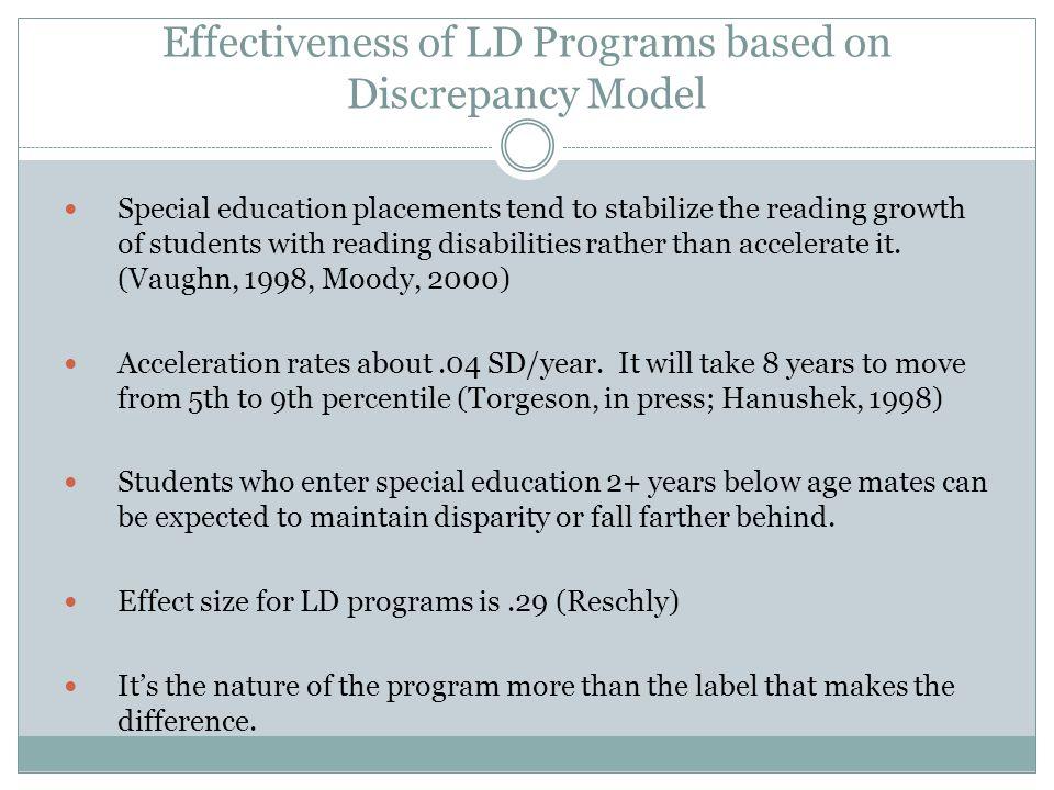 Effectiveness of LD Programs based on Discrepancy Model