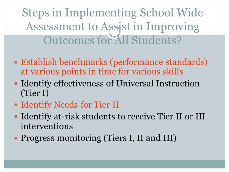 Steps in Implementing School Wide Assessment to Assist in Improving Outcomes for All Students