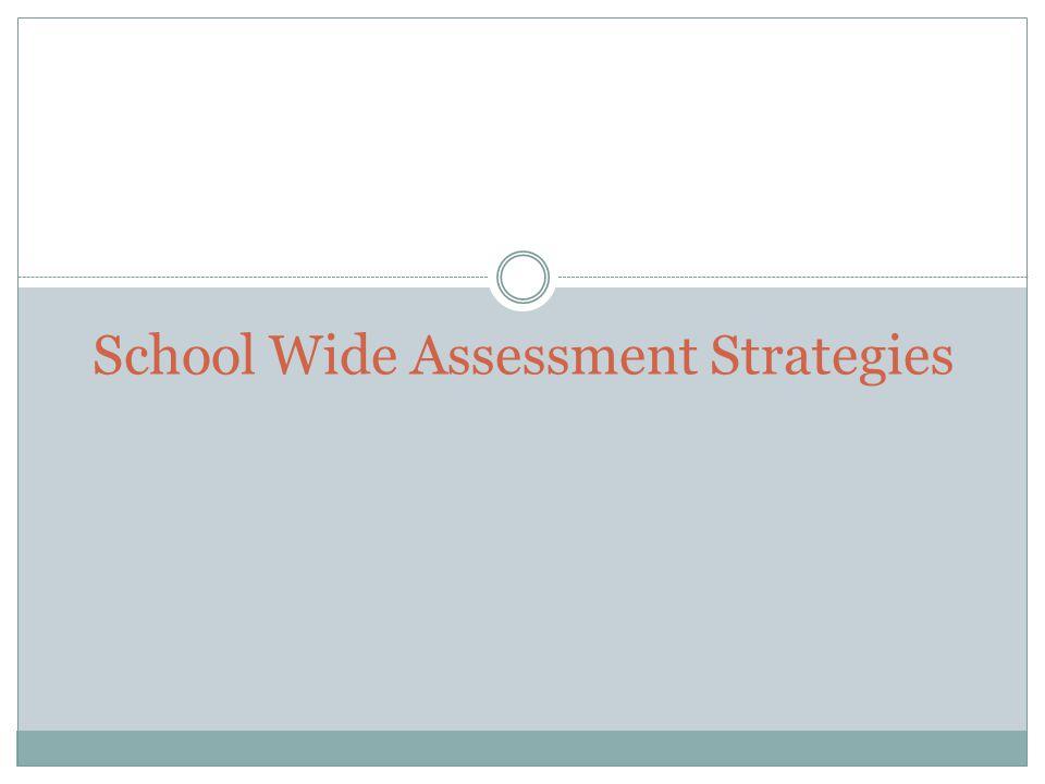 School Wide Assessment Strategies