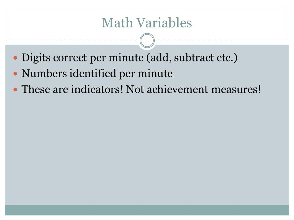 Math Variables Digits correct per minute (add, subtract etc.)