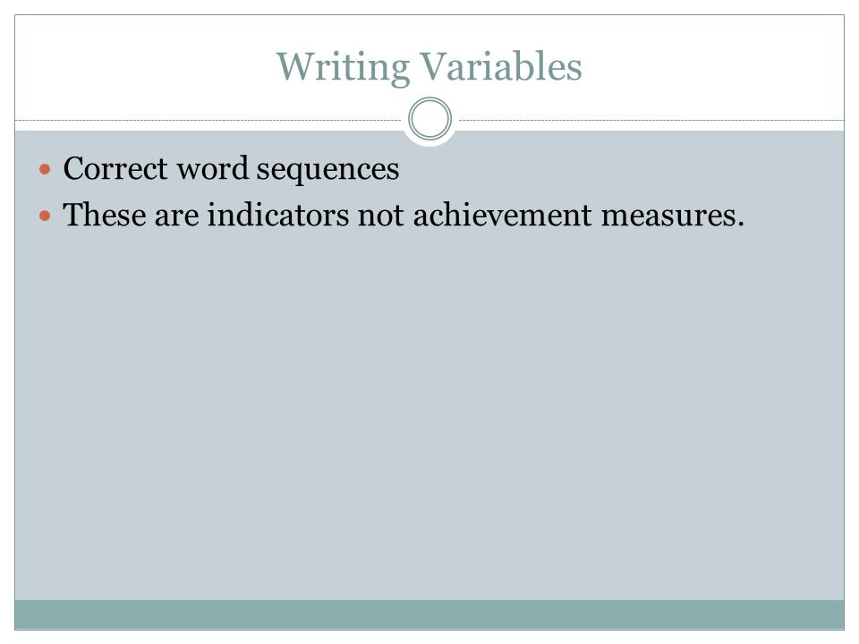 Writing Variables Correct word sequences