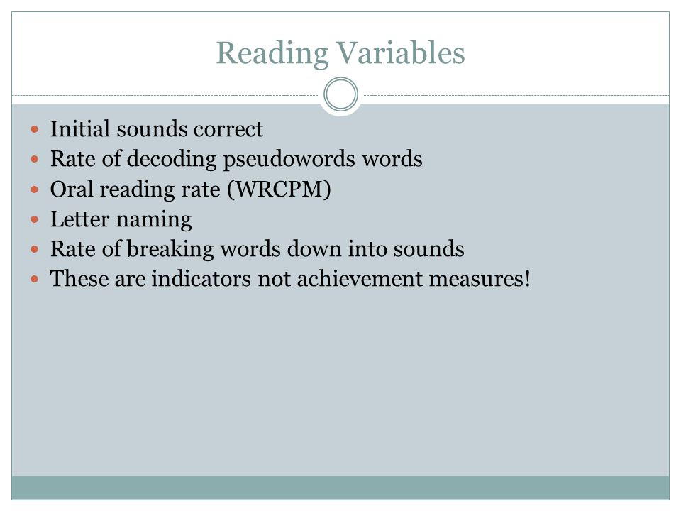 Reading Variables Initial sounds correct