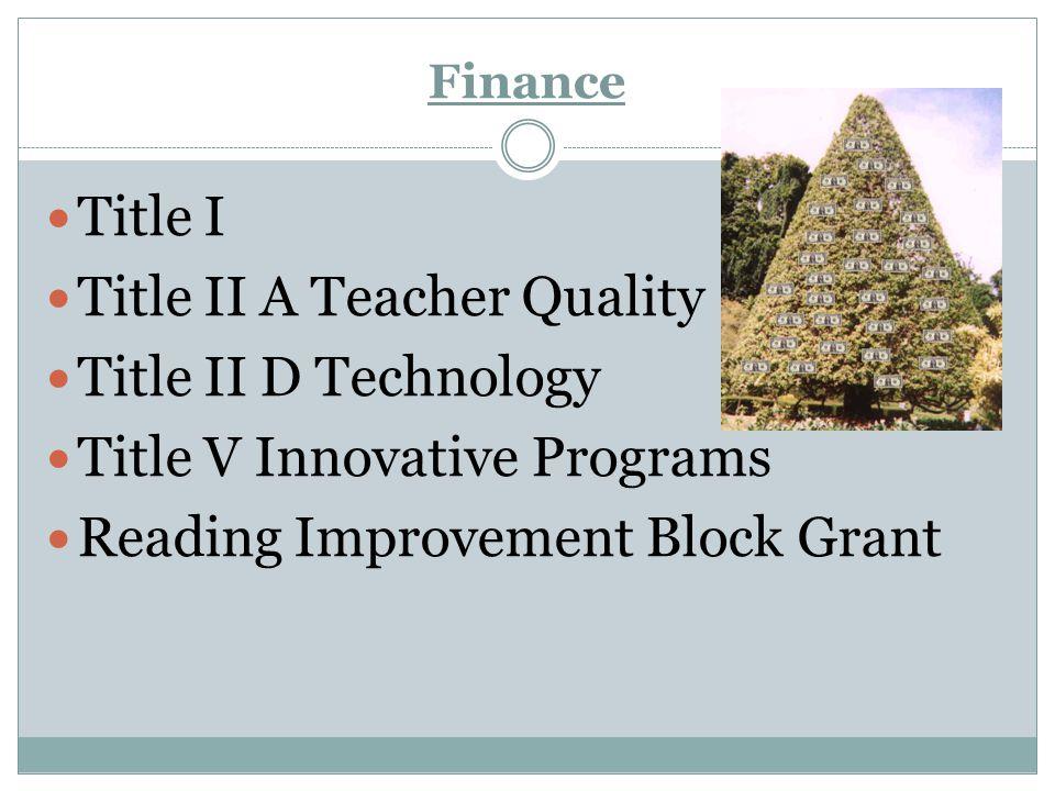 Title II A Teacher Quality Title II D Technology