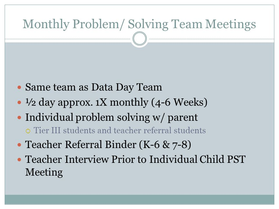 Monthly Problem/ Solving Team Meetings