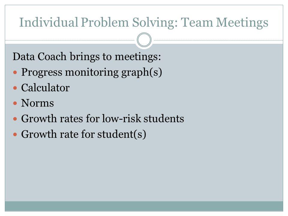Individual Problem Solving: Team Meetings