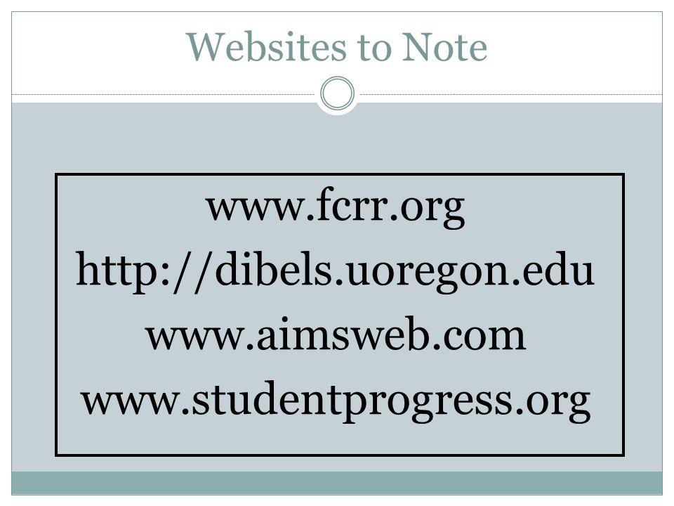 Websites to Note www.fcrr.org http://dibels.uoregon.edu www.aimsweb.com www.studentprogress.org