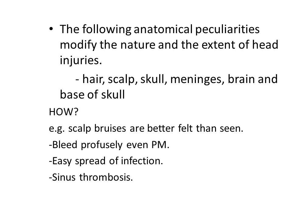 - hair, scalp, skull, meninges, brain and base of skull