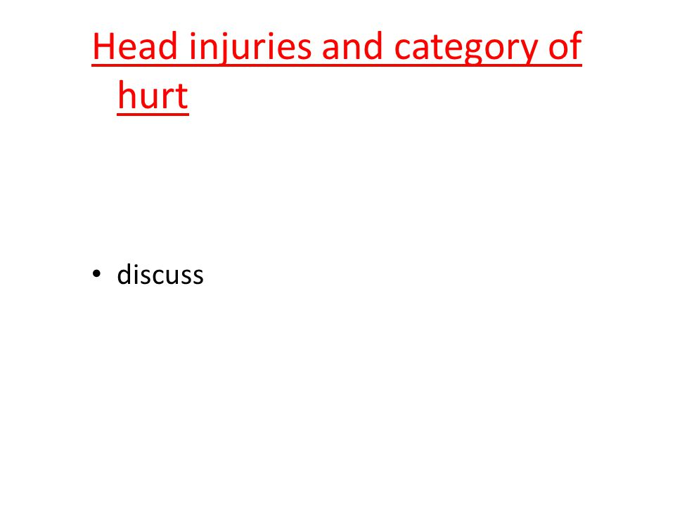 Head injuries and category of hurt