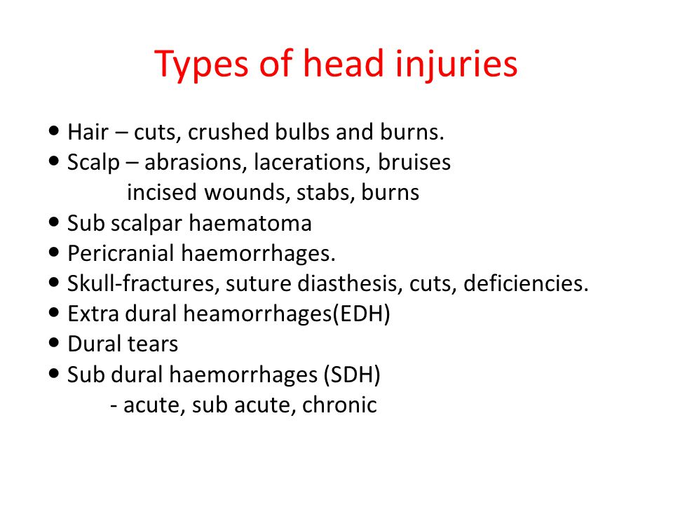 Types of head injuries Hair – cuts, crushed bulbs and burns.
