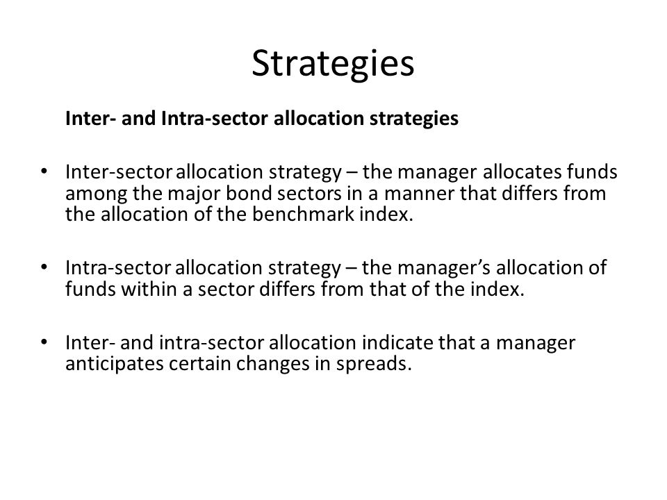 Strategies Inter- and Intra-sector allocation strategies