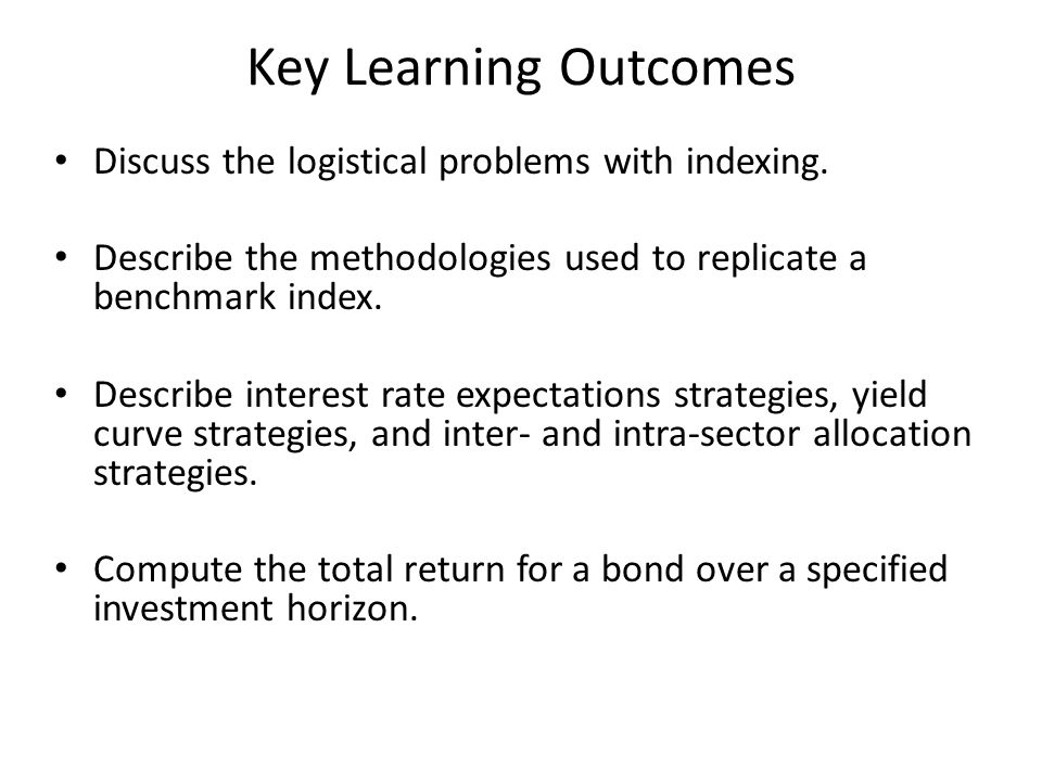 Key Learning Outcomes Discuss the logistical problems with indexing.