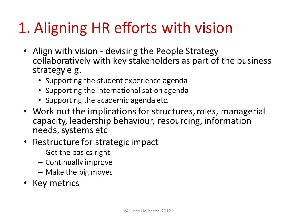 1. Aligning HR efforts with vision