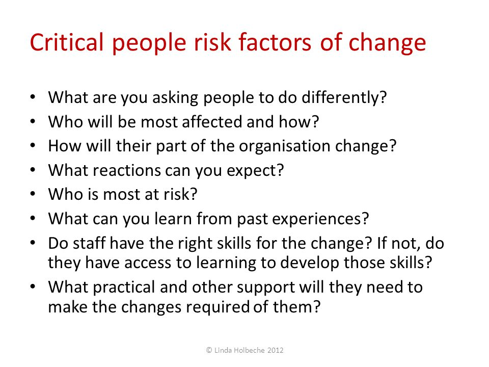 Critical people risk factors of change