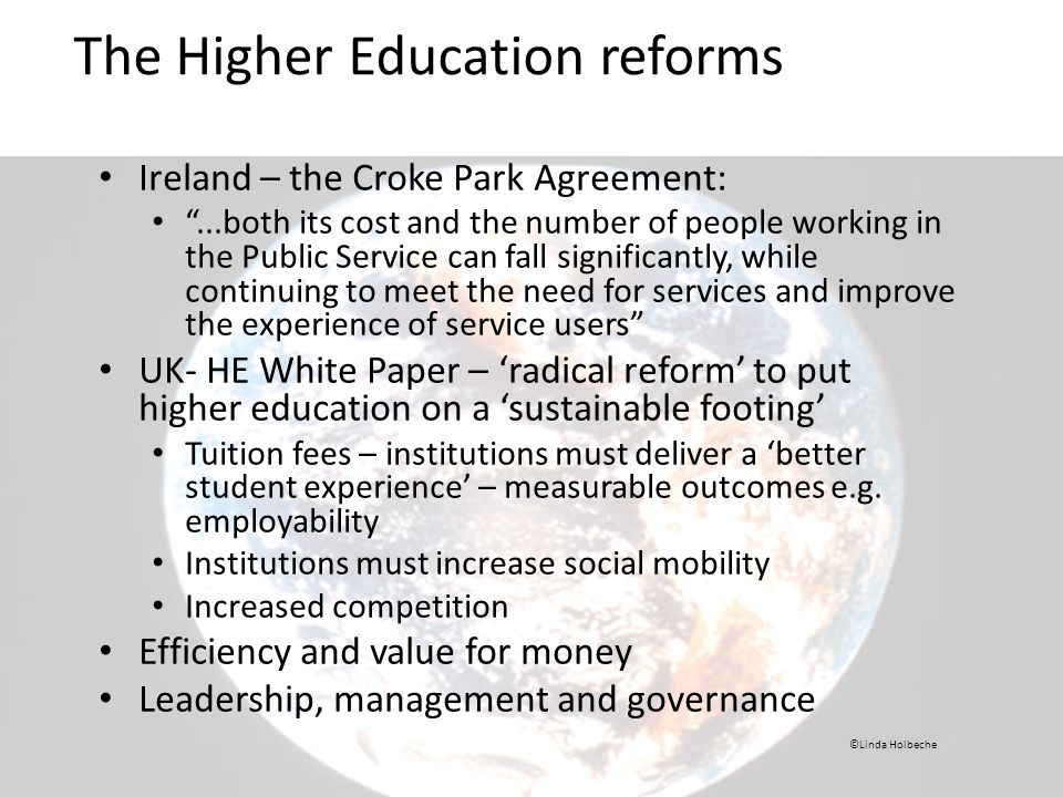 The Higher Education reforms