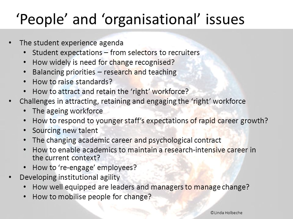 'People' and 'organisational' issues