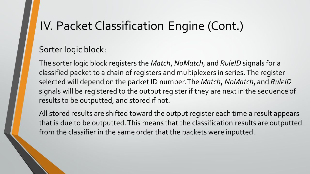 IV. Packet Classification Engine (Cont.)
