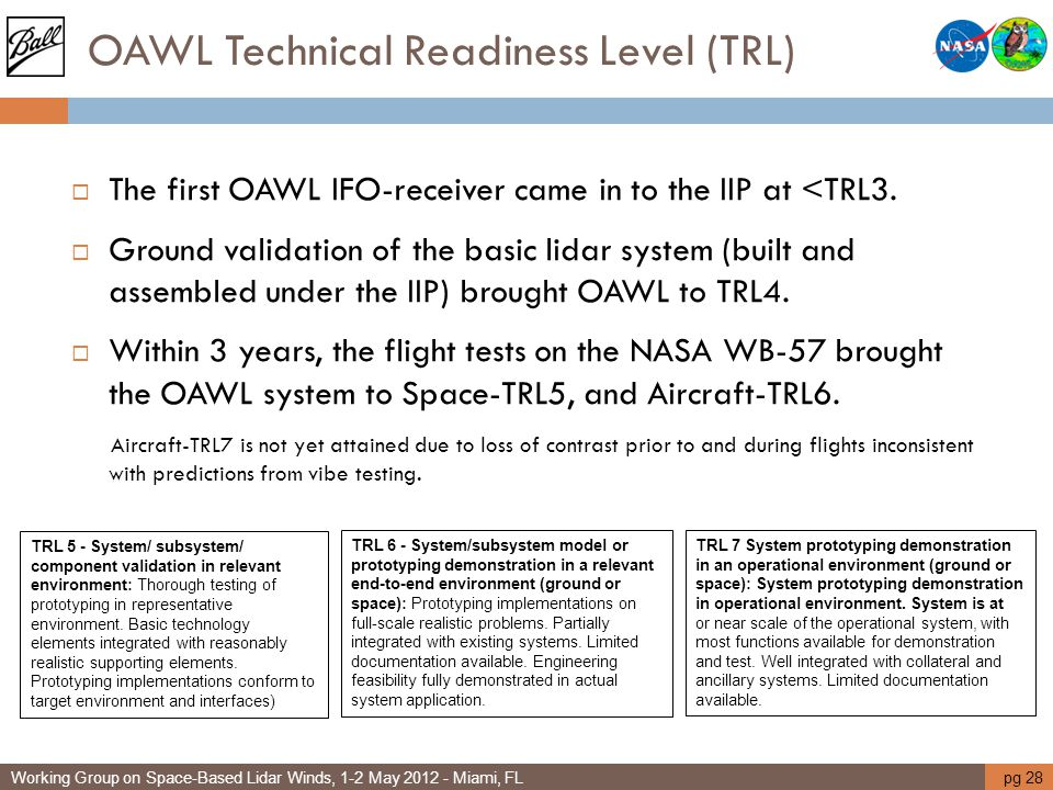 OAWL Technical Readiness Level (TRL)