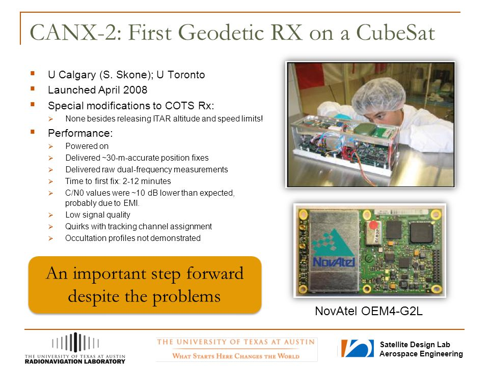 CANX-2: First Geodetic RX on a CubeSat