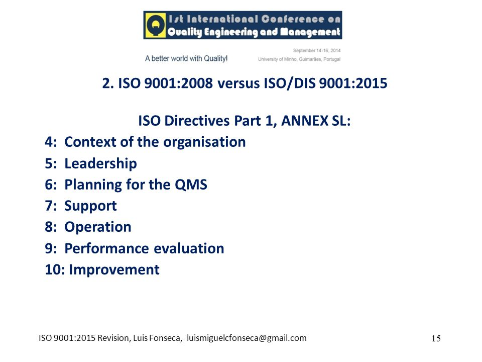 ISO Directives Part 1, ANNEX SL: