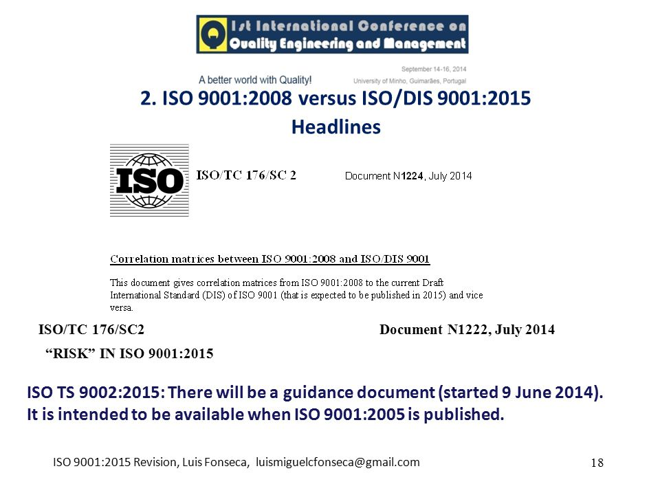ISO 9001:2015 Revision, Luis Fonseca, luismiguelcfonseca@gmail.com