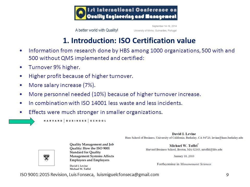 1. Introduction: ISO Certification value