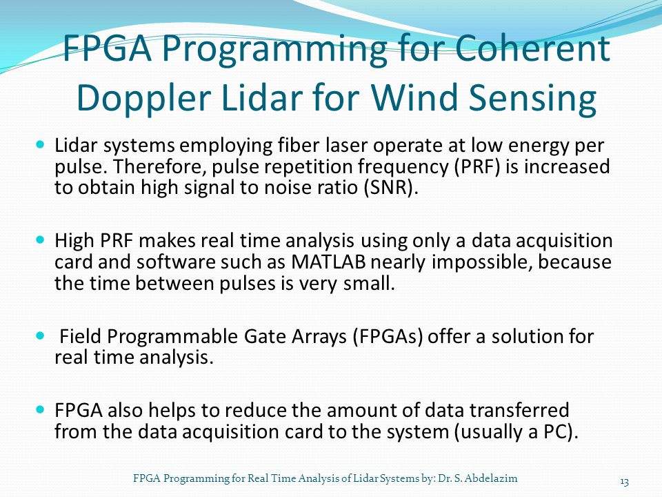 FPGA Programming for Coherent Doppler Lidar for Wind Sensing