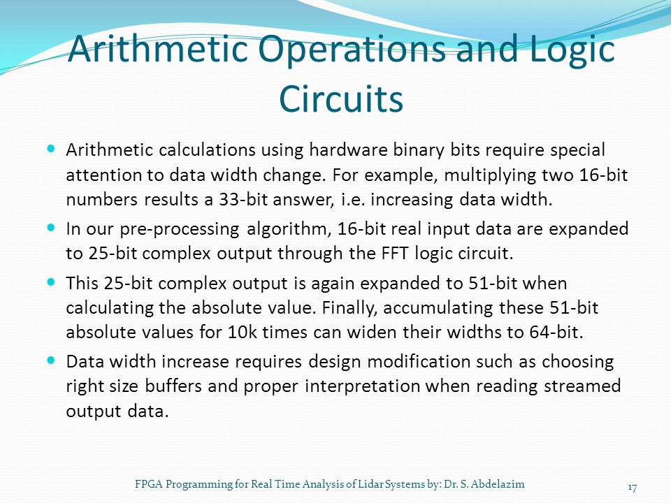 Arithmetic Operations and Logic Circuits