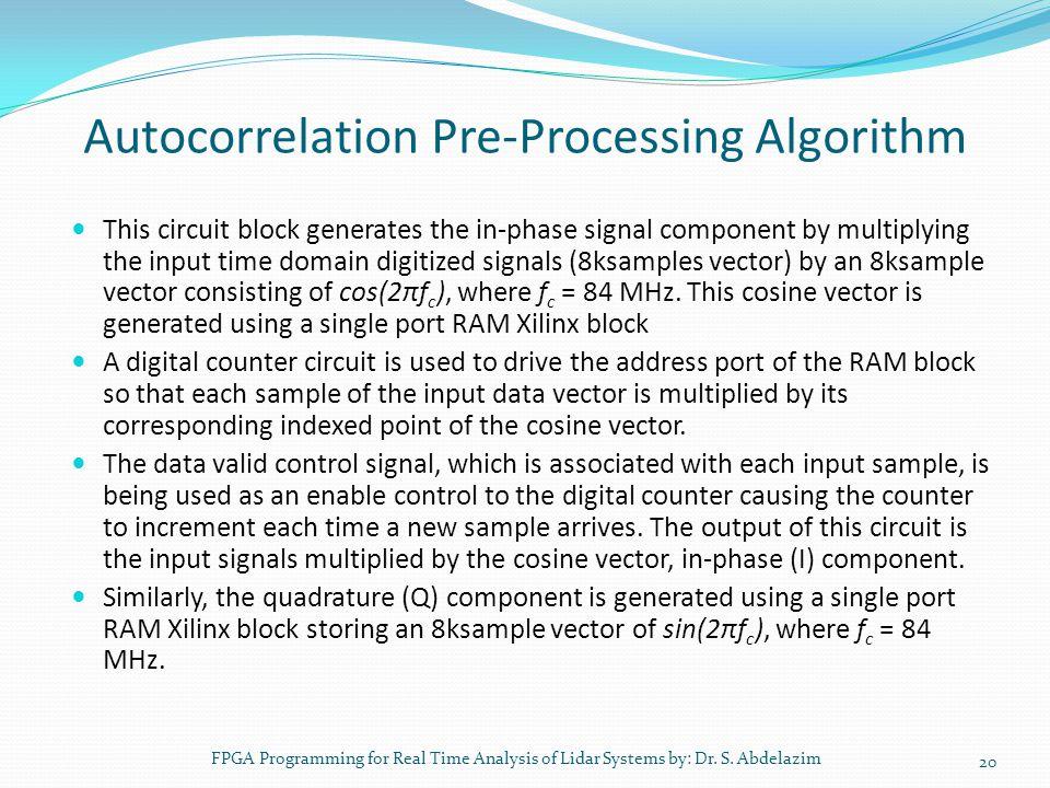 Autocorrelation Pre-Processing Algorithm