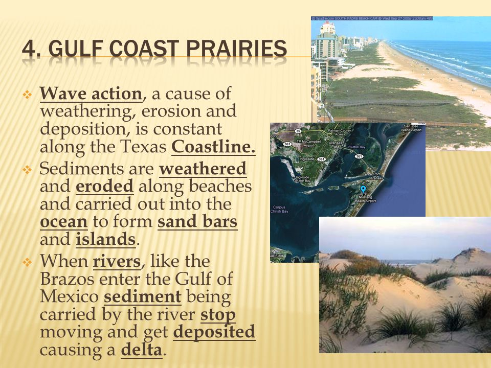 4. Gulf Coast Prairies Wave action, a cause of weathering, erosion and deposition, is constant along the Texas Coastline.