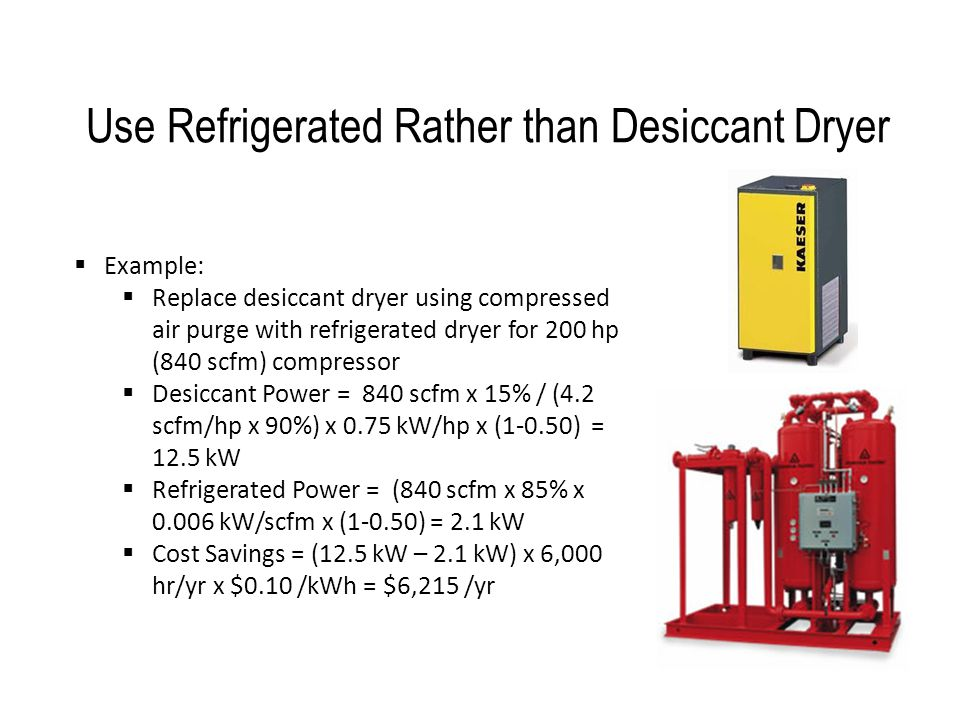 Use Refrigerated Rather than Desiccant Dryer