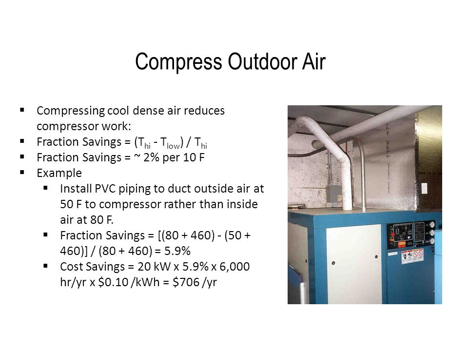 Compress Outdoor Air Compressing cool dense air reduces compressor work: Fraction Savings = (Thi - Tlow) / Thi.