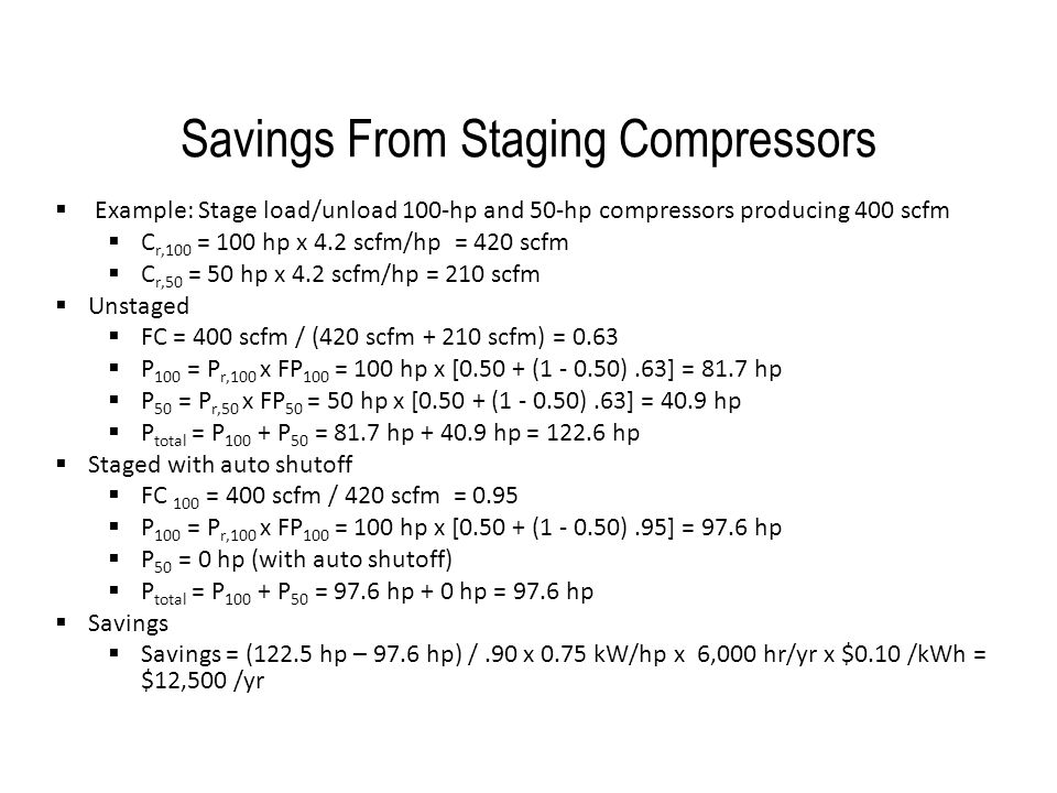 Savings From Staging Compressors