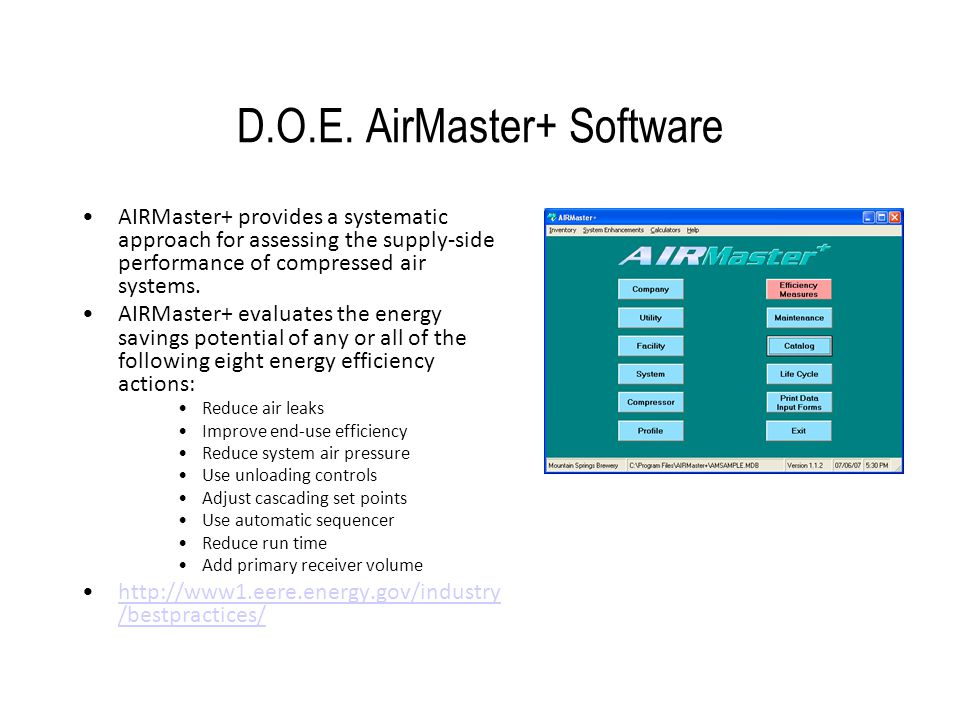 D.O.E. AirMaster+ Software