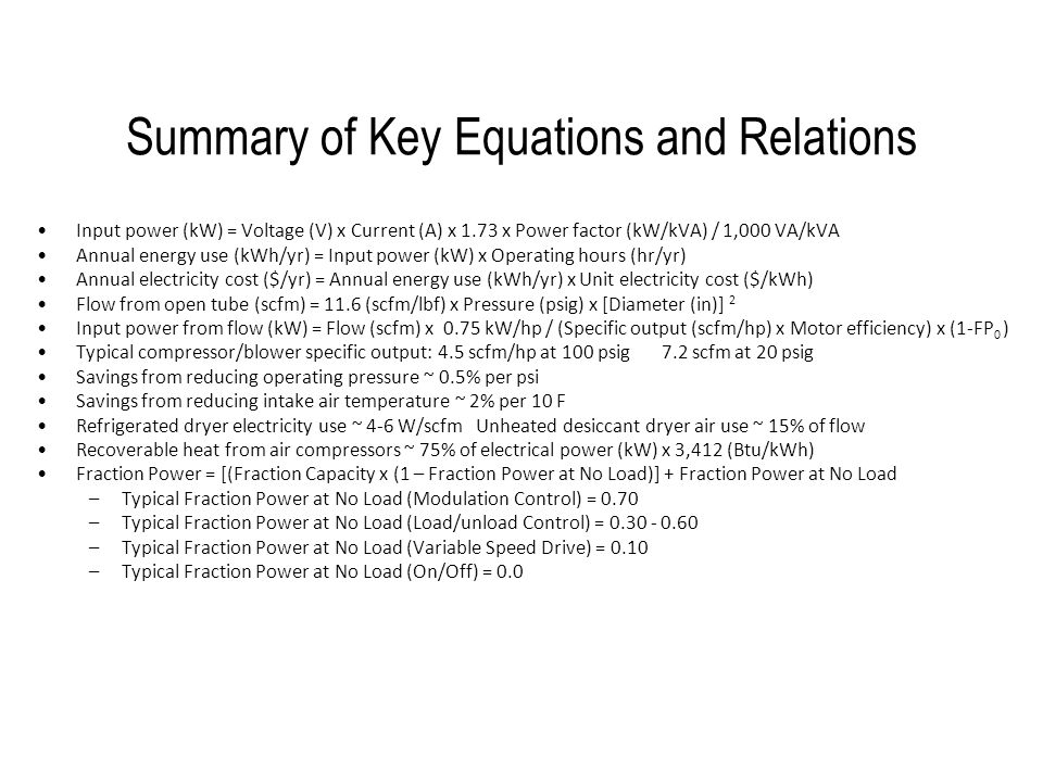 Summary of Key Equations and Relations